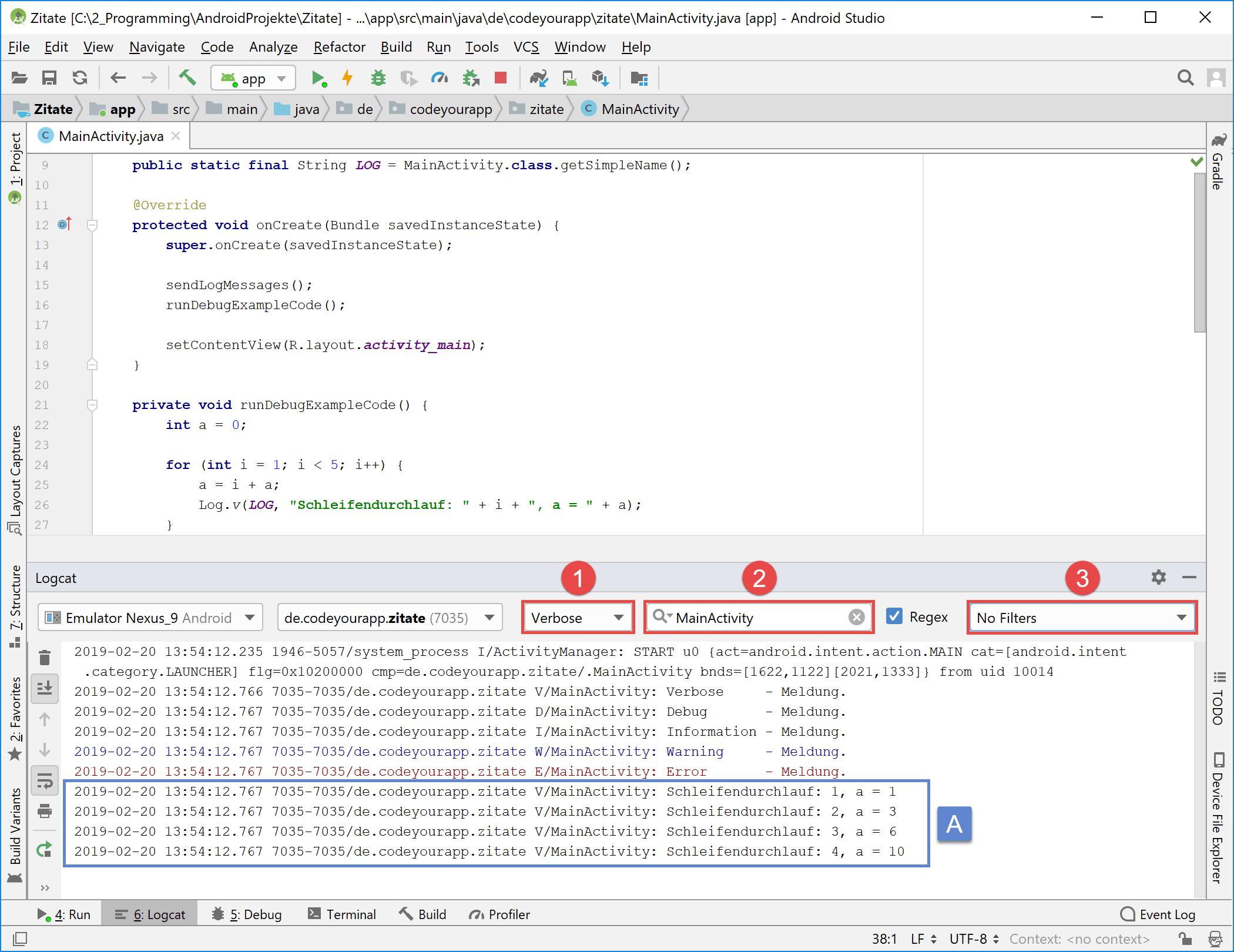 debugging_log_meldungen