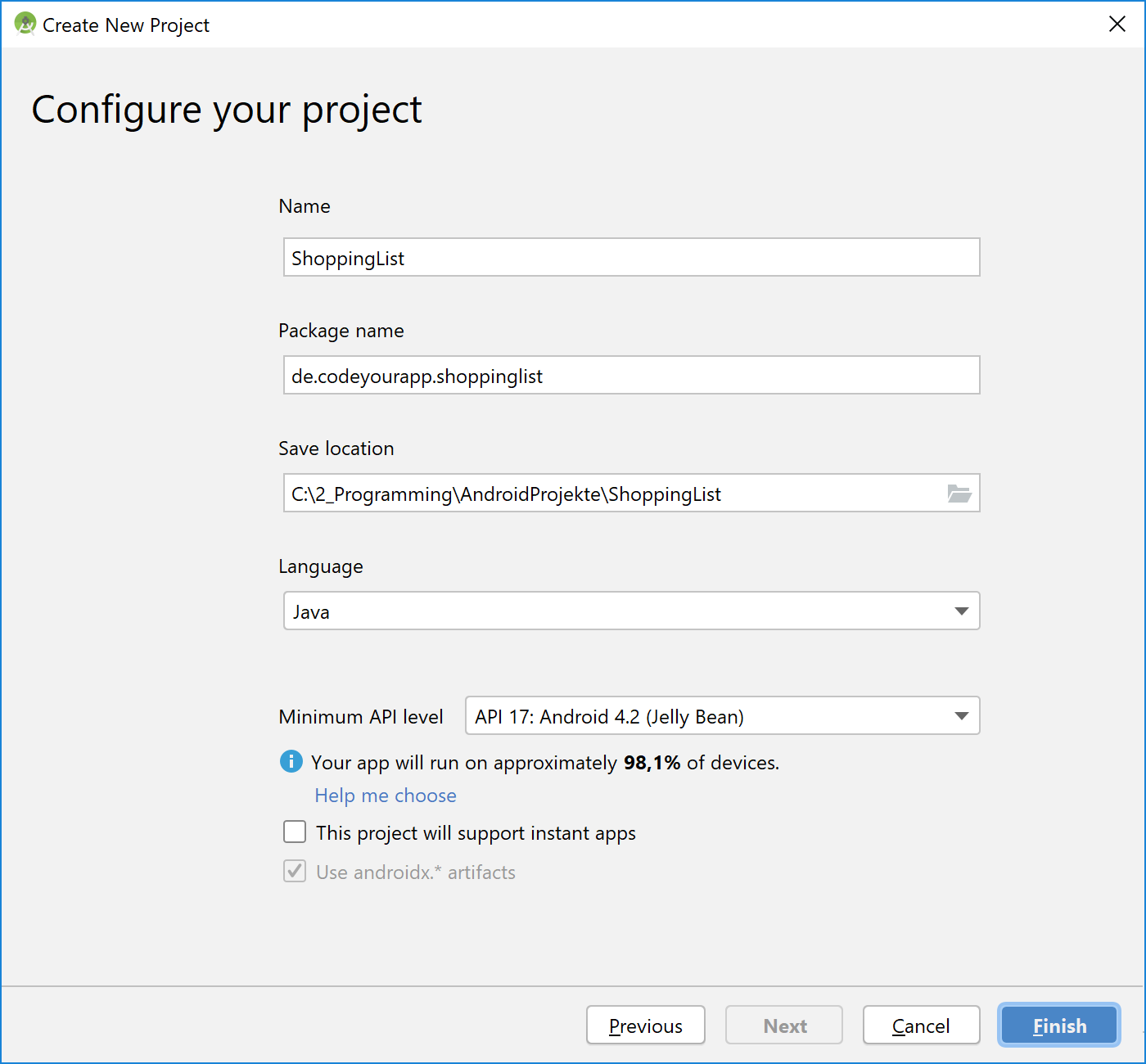 android_sqlite_projekt_konfigurieren